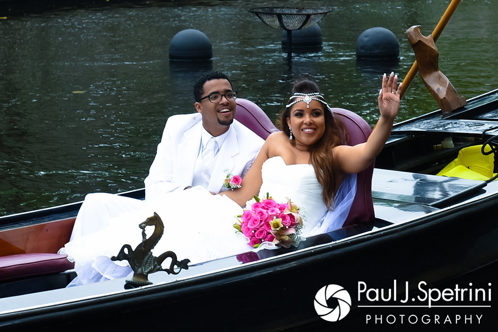 Lucelene and Luis take a gondola ride following their June 2017 wedding ceremony at Waterplace Park in Providence, Rhode Island.