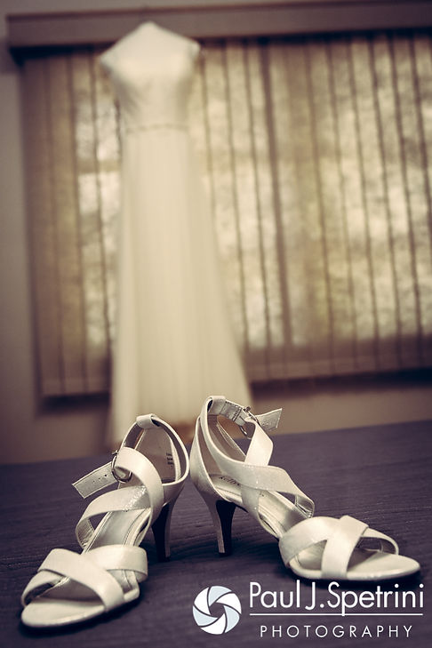 A look at Alyssa's wedding dress and shoes, on display prior to her August 2016 wedding ceremony at Holy Name Church in Fall River, Massachusetts.