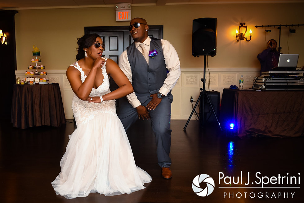 Kemi and Warren enter the hall during their August 2016 wedding reception at the Villa at Riddler Country Club in East Bridgewater, Massachusetts.