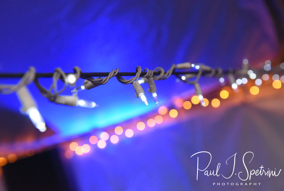 A look at the tent lighting during Josh & Kim''s September 2018 wedding reception at their home in Coventry, Rhode Island.