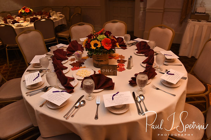 A look at the table settings prior to Justine & Jon's October 2018 wedding ceremony at Twelve Acres in Smithfield, Rhode Island.