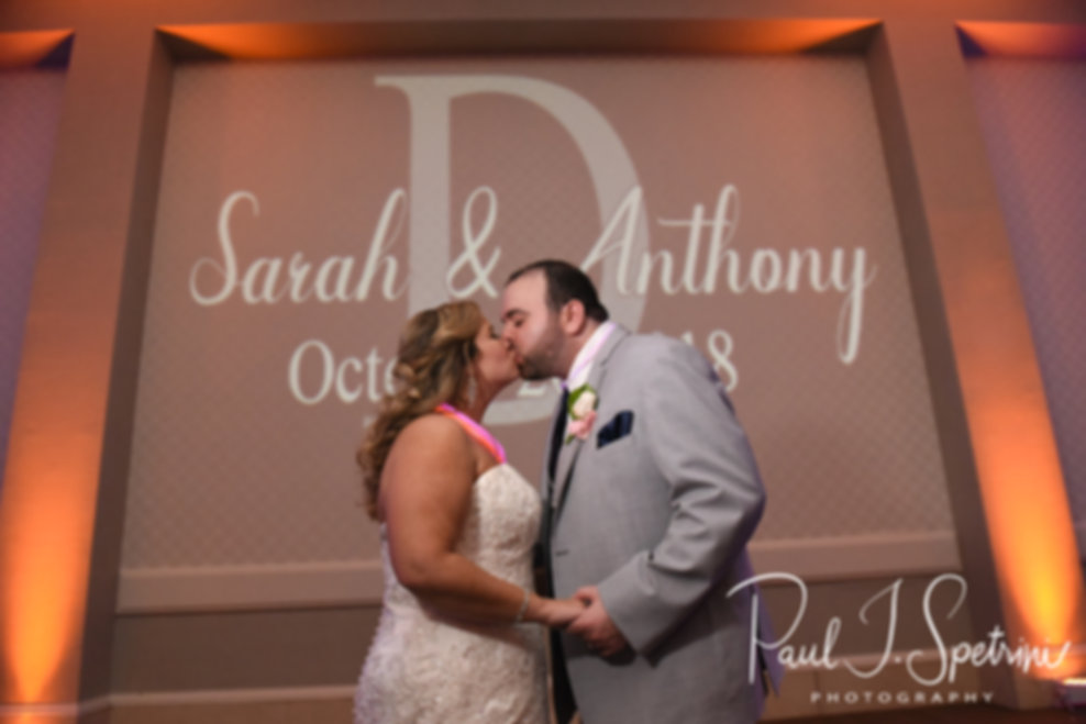 Sarah & Anthony kiss during their October 2018 wedding reception at The Omni Hotel in Providence, Rhode Island.
