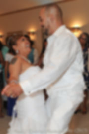 Joe and Jean Andrade dance at the end of their wedding.