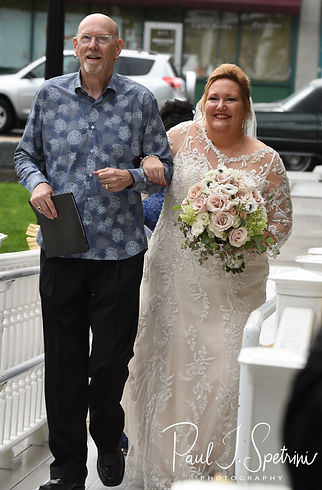 Patti walks down the aisle during her August 2018 wedding ceremony at the Walter J. Dempsey Memorial Bandstand in Norwood, Massachusetts.