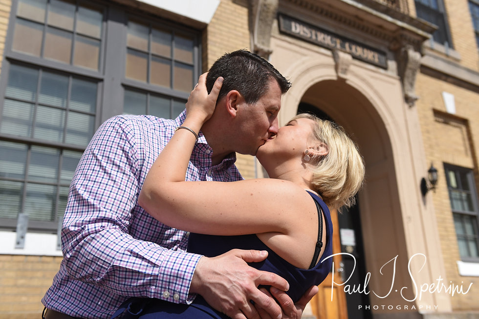 Meghan and Brian kiss for a photo in the Charlestown neighborhood of Boston, Massachusetts during their May 2018 engagement session.