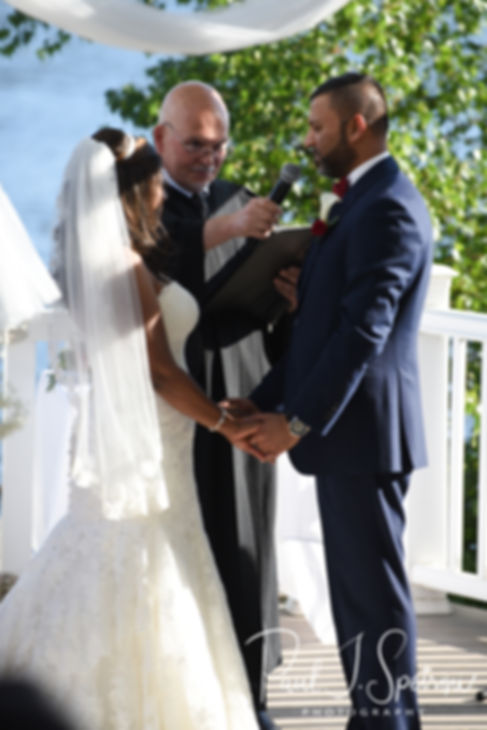 Jimmy speaks to Saken during his July 2018 wedding ceremony at Lake Pearl in Wrentham, Massachusetts.