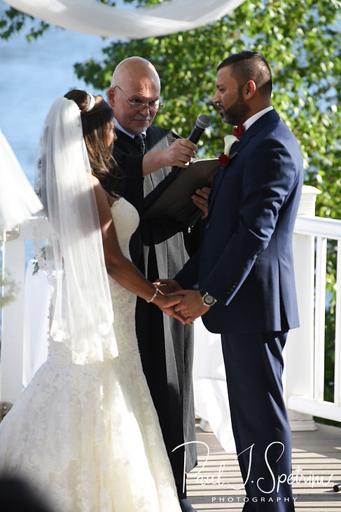 Jimmy speaks to Saken during his July 2018 wedding ceremony at Lake Pearl in Wrentham, Massachusetts.