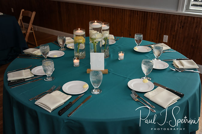 A look at the table settings during Amber & Justin's June 2018 wedding reception at North Beach Clubhouse in Narragansett, Rhode Island.