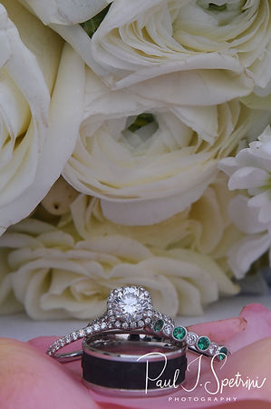 A look at the rings and flowers prior to Mike & Kate's May 2018 wedding reception at Regatta Place in Newport, Rhode Island.