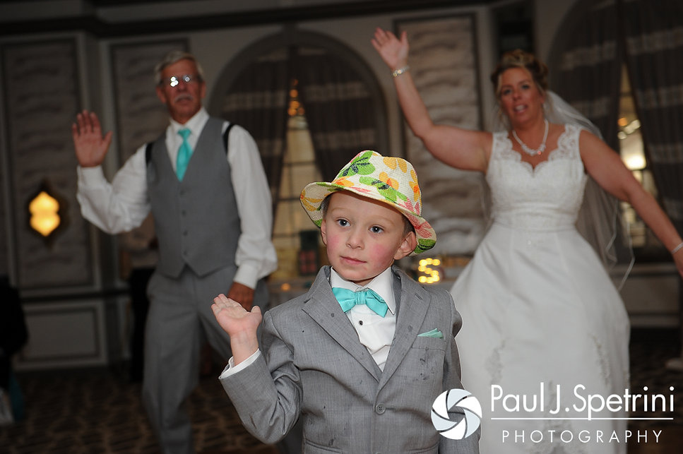 Angela, her father and son dance at her spring 2016 Rhode Island wedding at the Hotel Viking in Newport, Rhode Island.
