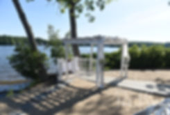 A look at the ceremony location prior to Jimmy & Saken's July 2018 wedding ceremony at Lake Pearl in Wrentham, Massachusetts.