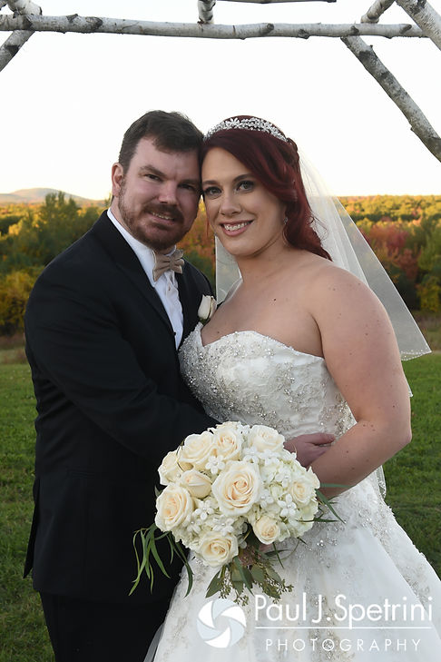 JD and Brooke pose for a formal photo prior to their October 2016 wedding reception at The Farm at SummitWynds in Jefferson, Massachusetts.