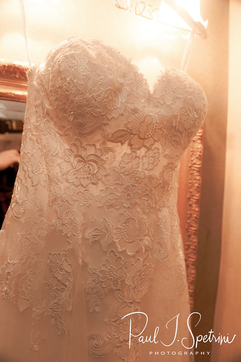 A look at Danielle's dress prior to her August 2018 wedding ceremony at the Roger Williams Park Casino in Providence, Rhode Island.