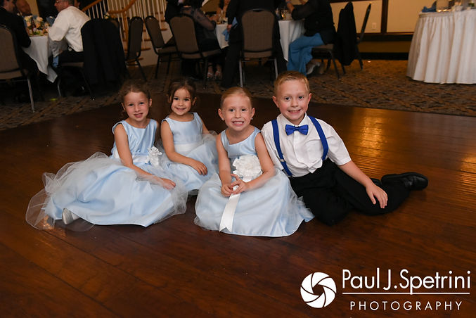 Children pose for a photo during Kevin and Joanna's October 2017 wedding reception at Cranston Country Club in Cranston, Rhode Island.