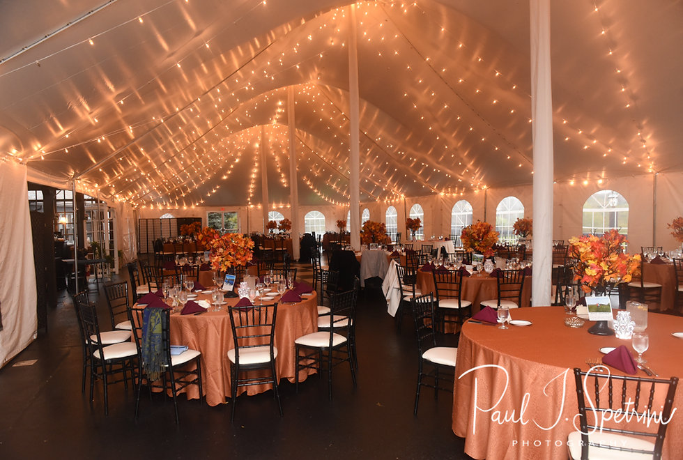 A look at the ballroom prior to Rich & Makayla's October 2018 wedding wedding reception at Zukas Hilltop Barn in Spencer, Massachusetts.