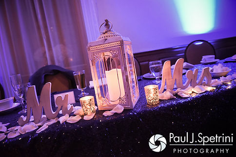 A look at the sweetheart table decorations on display during Jennifer and Mark's September 2016 wedding reception at the RI Shriners and Imperial Room at Rhodes Place in Providence, Rhode Island.