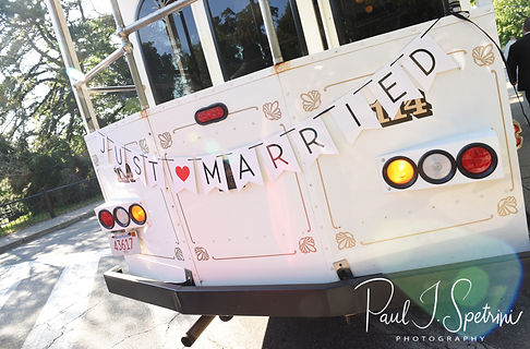 A trolley waits for Courtney and Patrick at Roger Williams Park in Providence, Rhode Island following their September 2018 wedding at St. Paul Church in Cranston, Rhode Island.