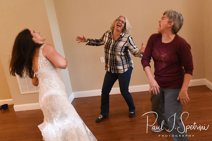 Amanda and her sisters dance during her October 2018 wedding reception at Loon Pond Lodge in Lakeville, Massachusetts.