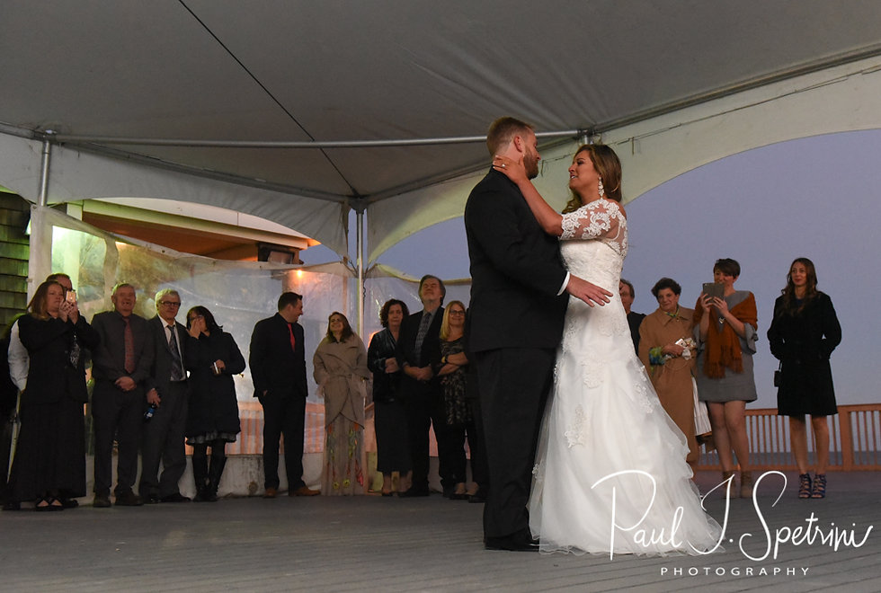 Cara & Brandon dance during their November 2018 wedding reception at the North Beach Clubhouse in Narragansett, Rhode Island.