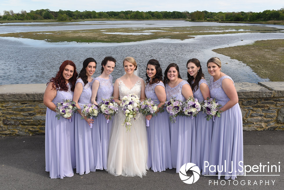 Melissa and her bridesmaids pose for a photo during her May 2017 bridal party formal photo session at Colt State Park in Bristol, Rhode Island.