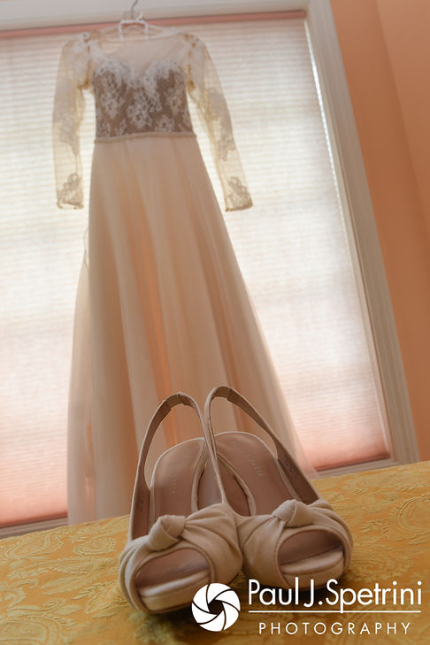 A look at Jessica's dress and shoes prior to her October 2017 wedding ceremony at the Assumption of the Blessed Virgin Mary Church in Providence, Rhode Island.