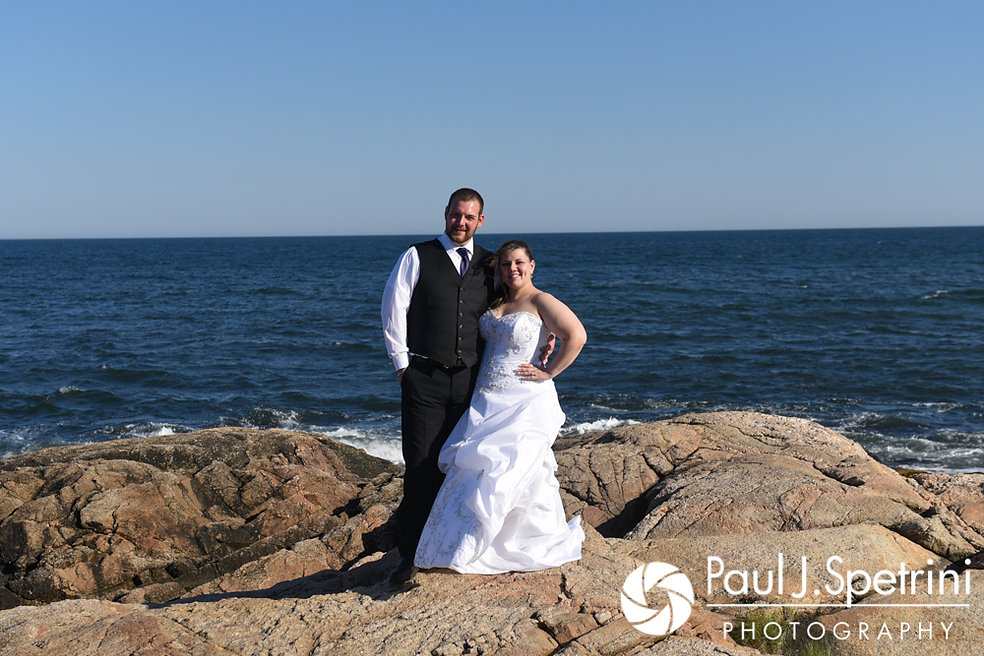 Clarissa and Jeff pose for a photo during a July 2017 'Trash the Dress' photo shoot at Black Point Trailhead in Narragansett, Rhode Island.