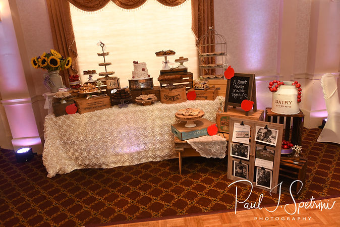 A look at the dessert table prior to Robin & Rick's August 2018 wedding reception at Twelve Acres in Smithfield, Rhode Island.