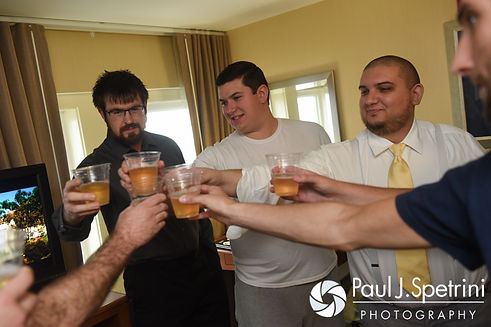 Chris and his groomsmen toast prior to his October 2016 wedding ceremony at Exeter Congregational Church in Exeter, New Hampshire.