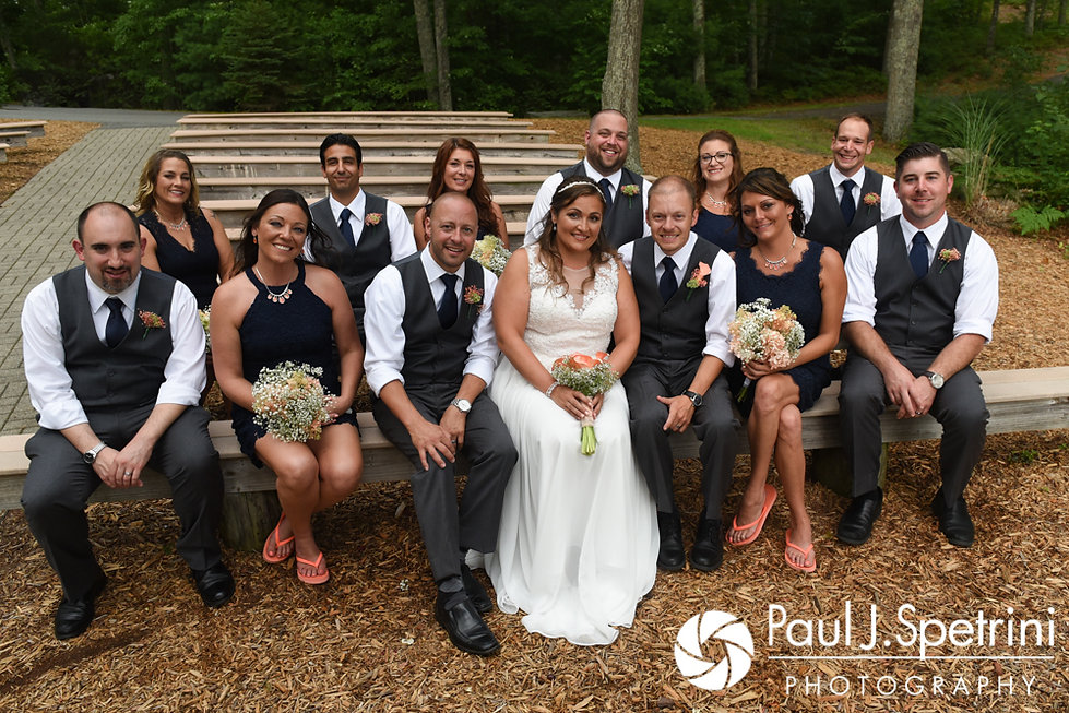 Toni and Scott pose for a photo with their wedding party following their August 2017 wedding ceremony at Crystal Lake Golf Club in Mapleville, Rhode Island.