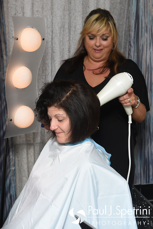 Marissa's mother has her hair done prior to her daughter's September 2016 wedding ceremony at Beavertail Lighthouse in Jamestown, Rhode Island.