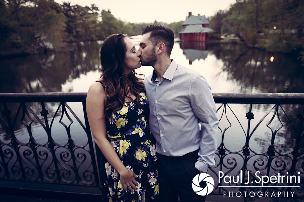 Stacey and John pose for a photo on the Iron Footbridge at Roger Williams Park in Providence, Rhode Island during their May 2017 engagement shoot.