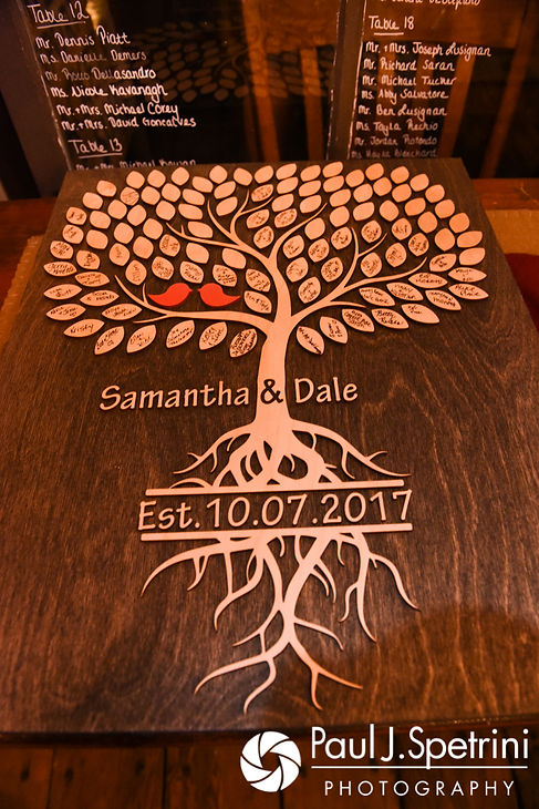 A look at the details prior to Samantha and Dale's October 2017 wedding reception at the Golden Lamb Buttery in Brooklyn, Connecticut.