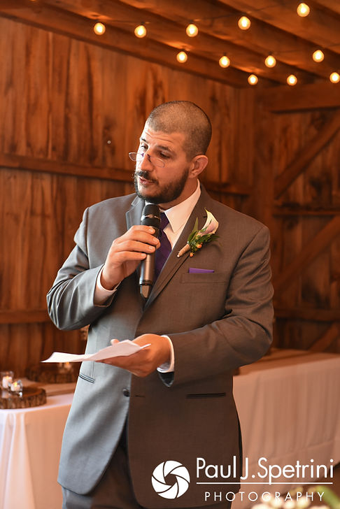 The best man gives a toast during Kevin and Jen's September 2017 wedding reception at Allen Hill Farm in Brooklyn, Connecticut.