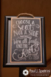 A sign is shown on display prior to Dallas and Nicky's September 2017 wedding ceremony at the Crowne Plaza Hotel in Warwick, Rhode Island.