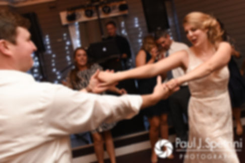 Mike and Rachel dance during their October 2017 wedding reception at Castle Manor Inn in Gloucester, Massachusetts.