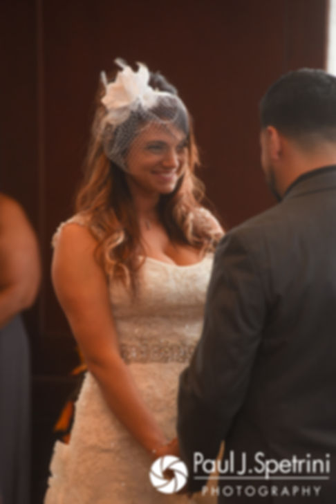 Nicky looks at Dallas during her September 2017 wedding ceremony at the Crowne Plaza Hotel in Warwick, Rhode Island.