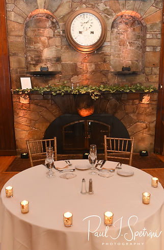 A look at the sweetheart table, shown on display during Michael & Miranda's August 2018 wedding reception at the Squantum Association in Riverside, Rhode Island.