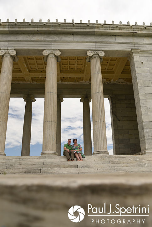 Ashley and Robert take a photo together at the Roger Williams Park Temple of Music during their May 2017 engagement photo session.