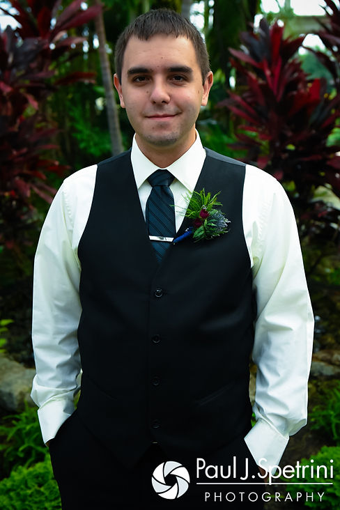 Kyle smiles for a photo prior to his September 2016 wedding at the Roger Williams Park Botanical Center in Providence, Rhode Island.