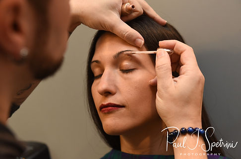 Amanda has her makeup applied prior to her October 2018 wedding reception at Loon Pond Lodge in Lakeville, Massachusetts.