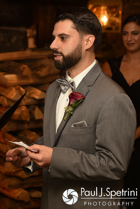 Andy says his vows during his November 2016 wedding ceremony at the Salem Cross Inn in West Brookfield, Massachusetts.
