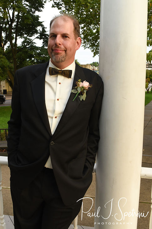 Bob poses for a photo following his August 2018 wedding ceremony at the Walter J. Dempsey Memorial Bandstand in Norwood, Massachusetts.