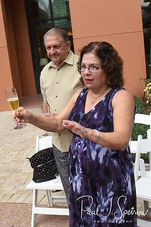 The mother of the bride gives a toast following Amanda & Josh's October 2018 wedding ceremony at the Walt Disney World Swan & Dolphin Resort in Lake Buena Vista, Florida.