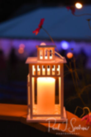 A look at a lantern on display during Josh & Kim''s September 2018 wedding reception at their home in Coventry, Rhode Island.