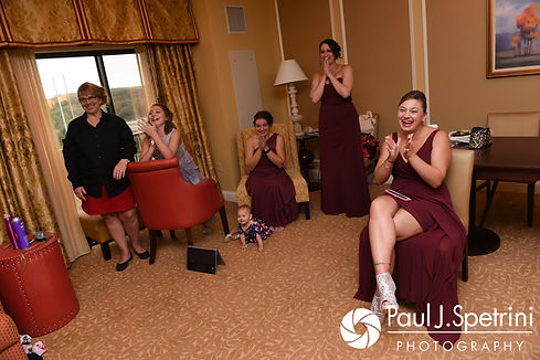 Nicky's bridesmaids react to seeing her prior to her September 2017 wedding ceremony at the Crowne Plaza Hotel in Warwick, Rhode Island.