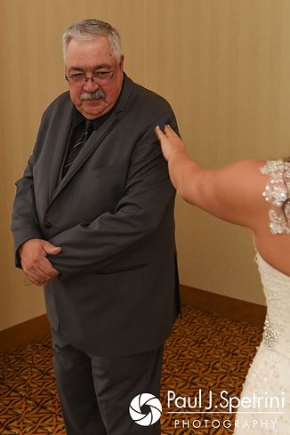 Nicky's father sees her during their first look prior to her September 2017 wedding ceremony at the Crowne Plaza Hotel in Warwick, Rhode Island.