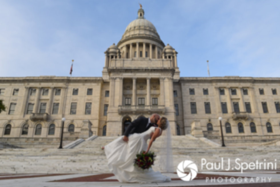 Tricia and Kevin pose for a formal photo at the Rhode Island Statehouse in Providence, Rhode Island.