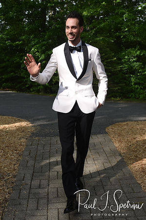 Joe arrives during his May 2018 wedding ceremony at Crystal Lake Golf Club in Mapleville, Rhode Island.
