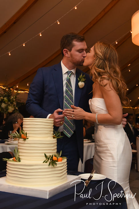 David and Whitney cut their wedding cake during their October 2018 wedding reception at Castle Hill Inn in Newport, Rhode Island.
