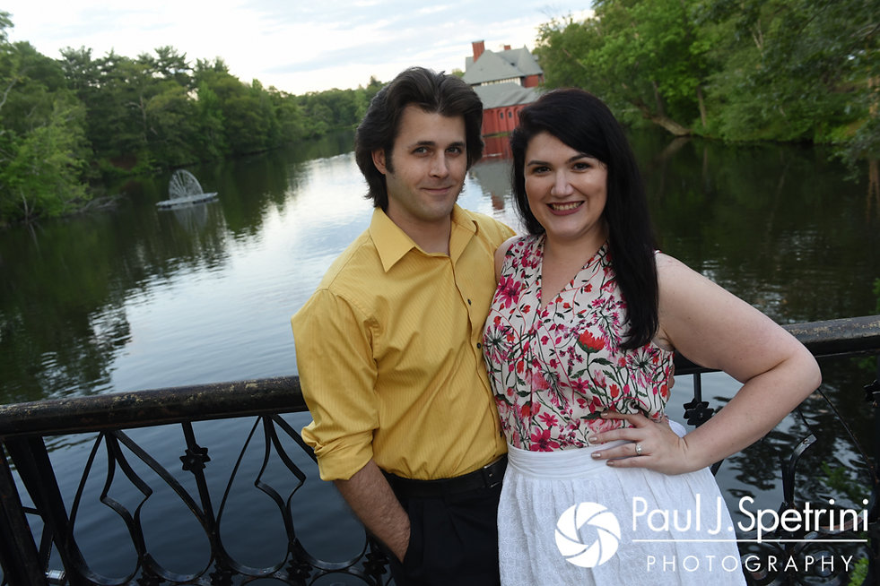 Allison and Len smile for a photo at the Roger Williams Park Iron Footbridge in Providence, Rhode Island during their June 2017 engagement photo session.